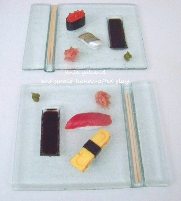 "FOR LEFT AND RIGHT HANDERS SUSHI PAIR OF ""ORIGINAL SUSHI PLATES"""