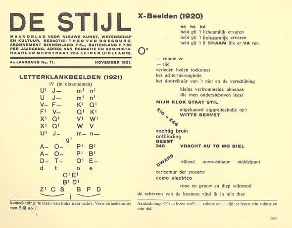 Extract from Dutch magazine De Stijl, with 'klankbeelden' by theo van Doesburg
