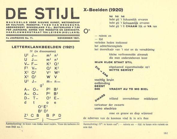 Extract from Dutch magazine De Stijl, with 'klankbeelden' by theo van Doesburg