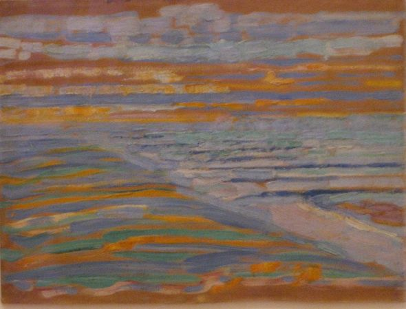View from the dunes with beach and piers domburg oil and pencil on cardboard painting by mondrian 1909 museum of modern art new york city.