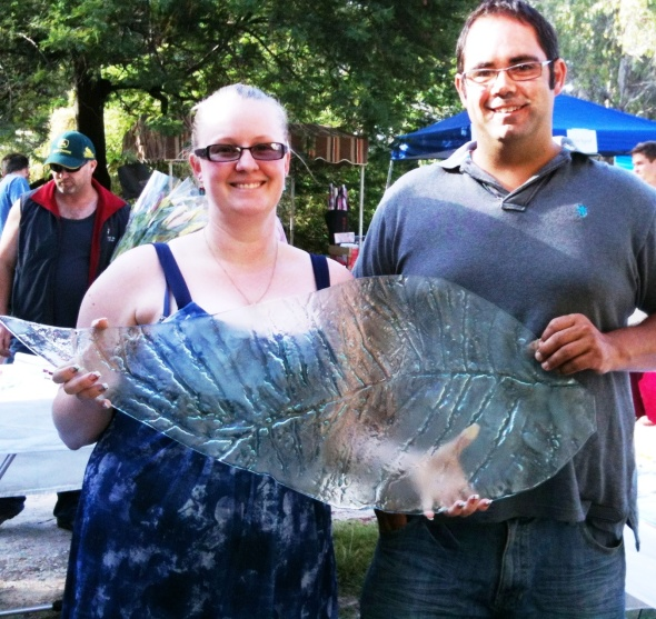 "Happy customers with ""giant leaf"" by Jenie Yolland"