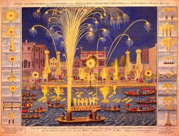An etching of the Royal Fireworks display on the Thames, London, England 1749.